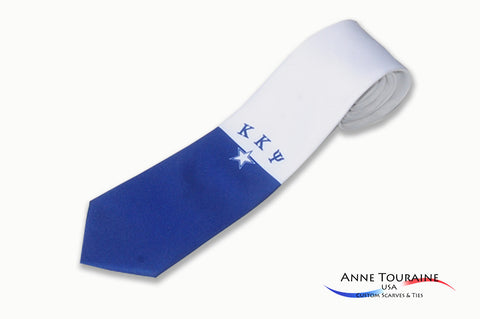 custom-made-logoed-ties-fraternities-single-logo-blue-white-anne-touraine