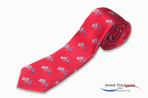 custom-made-logoed-ties-repeated-pattern-scattered-logos-red-anne-touraine-