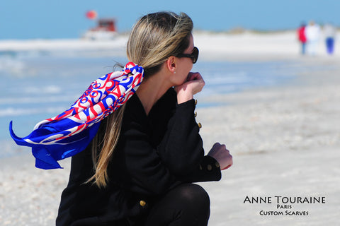 Custom made designer scarves with patriotic colors: contact ANNE TOURAINE USA to create your own scarf line