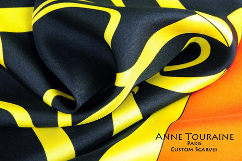 Vibrant custom made designer scarves; contact ANNE TOURAINE USA to create your own scarf line