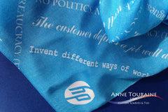 Branded and personalized scarves by ANNE TOURAINE Custom Scarves and Ties: choosing the appropriate fabrics