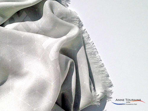 custom scarf with fringes by ANNE TOURAINE Custom Scarves and Ties USA