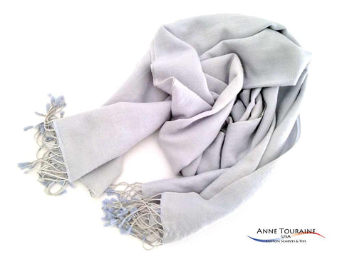 Long stole with long fringes by ANNE TOURAINE Custom Scarves and Ties USA