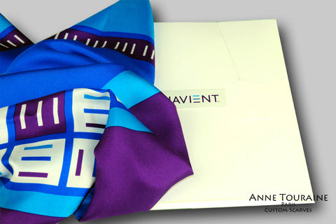Custom and corporate silk scarves: in addition to creating and manufacturing your scarf ANNE TOURAINE Paris™ USA Custom Scarves Division also offers prestigious options for the packaging