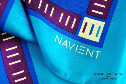 Custom and corporate silk scarves: This vibrant scarf is a creation of ANNE TOURAINE Paris™ USA Custom Scarves Division