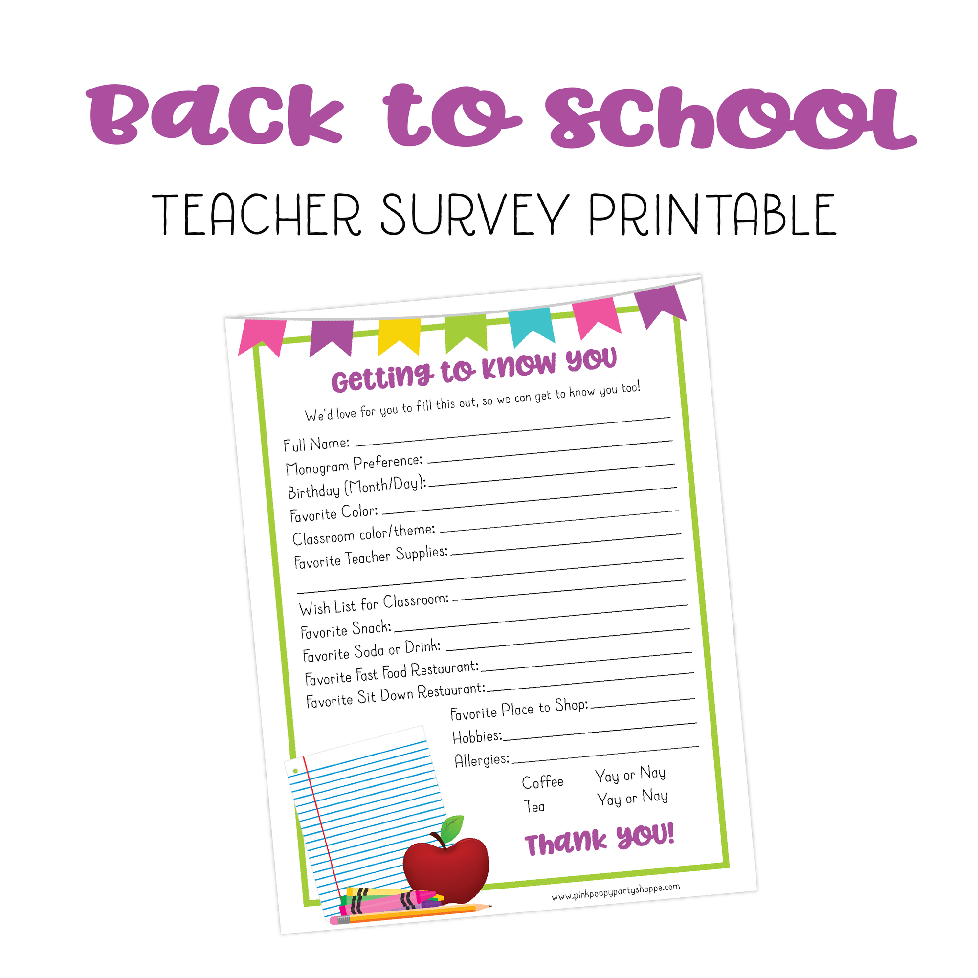 Back to School Teacher Survey Free Printable by Pink Poppy Party Shoppe