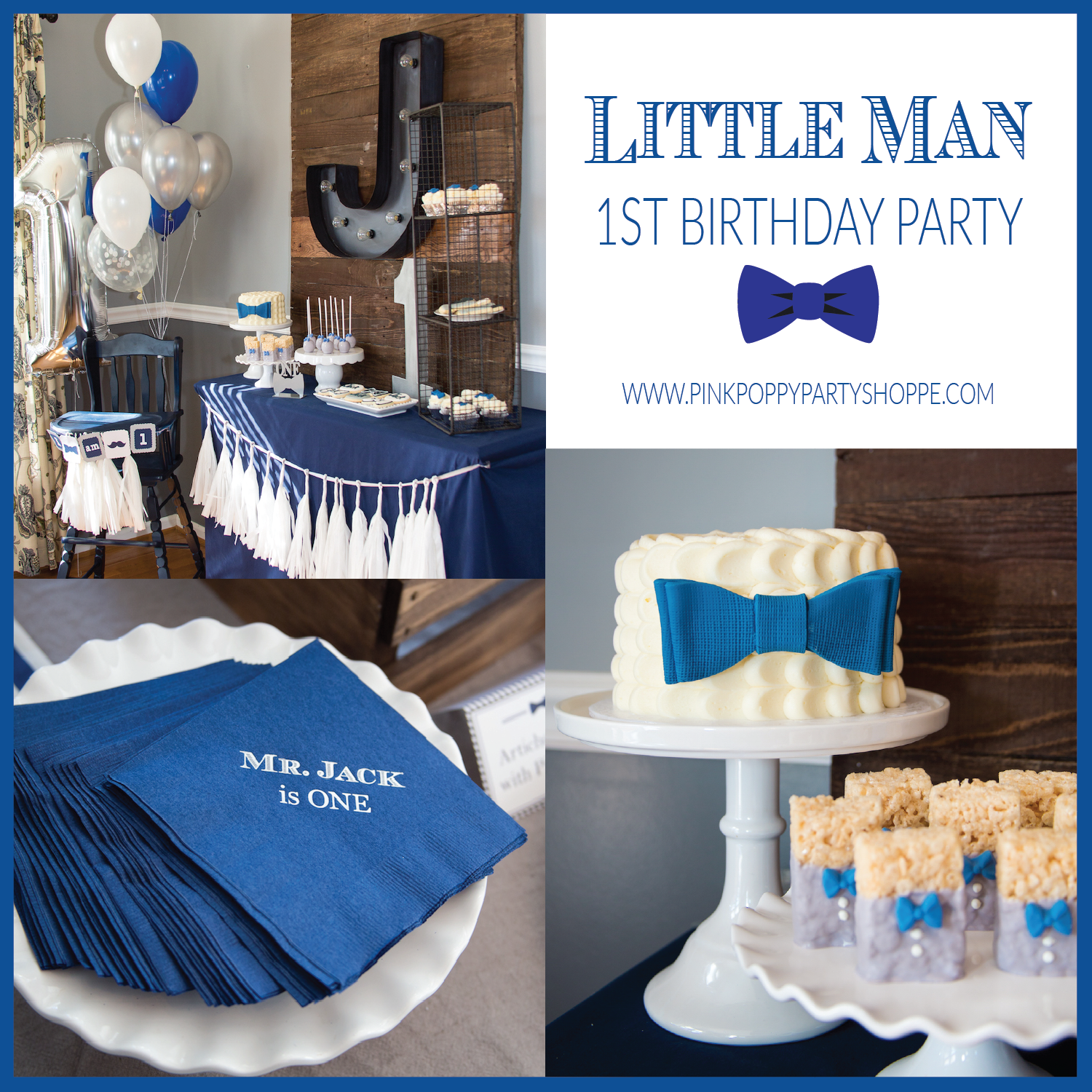 Little Man Bow Tie 1st Birthday Party