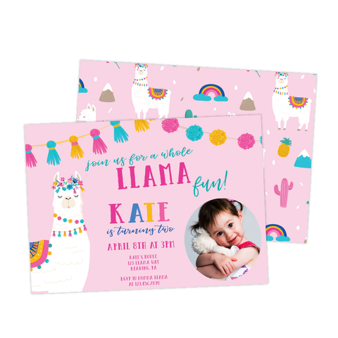Llama Llama Birthday Photo Invitation