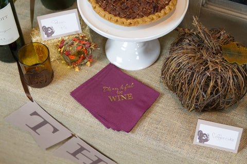 Thankful for Wine Napkins | Pink Poppy Party Shoppe Blog