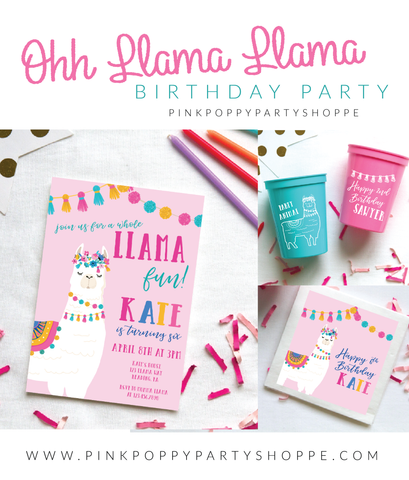 Llama Birthday Party Collection by Pink Poppy Party Shoppe