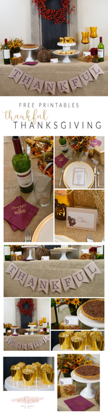 Free Thankful Thanksgiving Dessert Table Printables | Pink Poppy Party Shoppe Blog