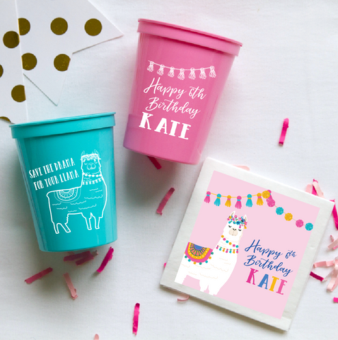 Llama Birthday Cups and Napkins by Pink Poppy Party Shoppe