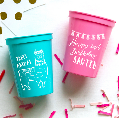 Party Animal Llama Birthday Cups by Pink Poppy Party Shoppe