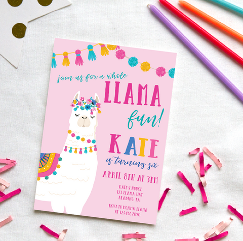Llama Birthday Invitations