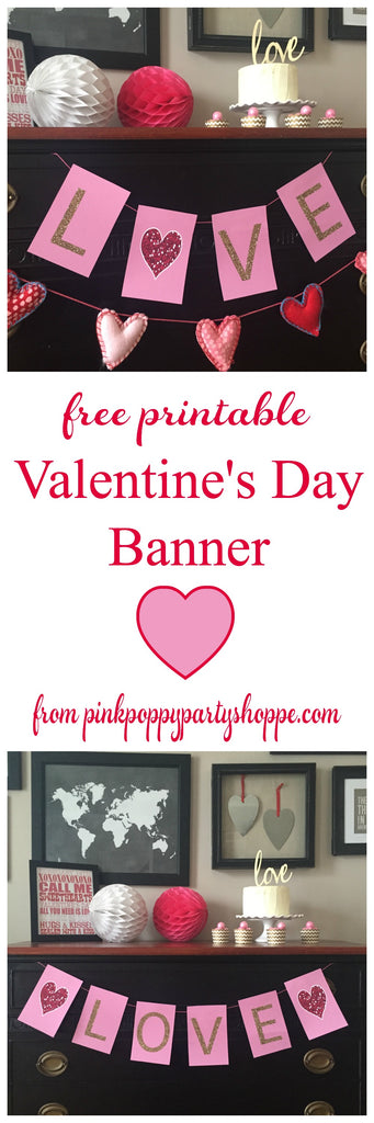 Free Printable LOVE Glitter Banner from Pink Poppy Party Shoppe