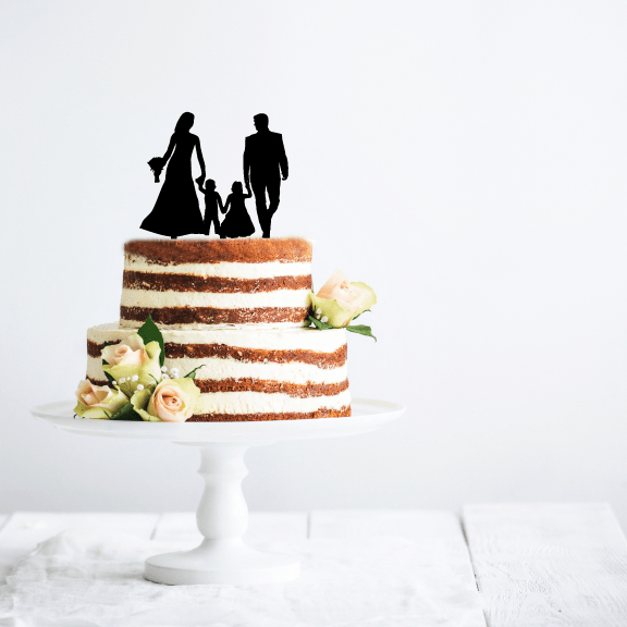 Wedding Couple with Small Children Acrylic Cake Topper