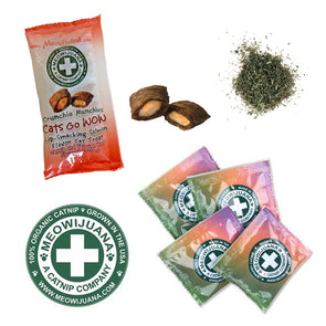 meowijuana sample bags, stickers, and brochure. Organic Premium Catnip