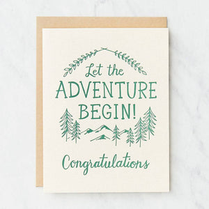 Let the Adventure Begin Letterpress Graduation Card