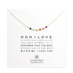 mom love multi-gem necklace, gold dipped - Chestnut Lane Antiques & Interiors