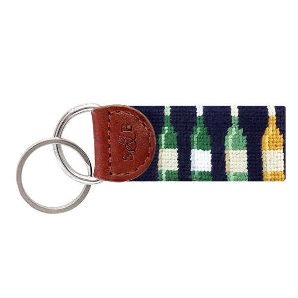 Wine Bottles Needlepoint Key Fob