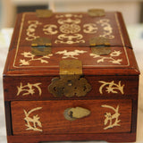 Chinese Lacquer Jewelry or Vanity Box with Folding Mirror
