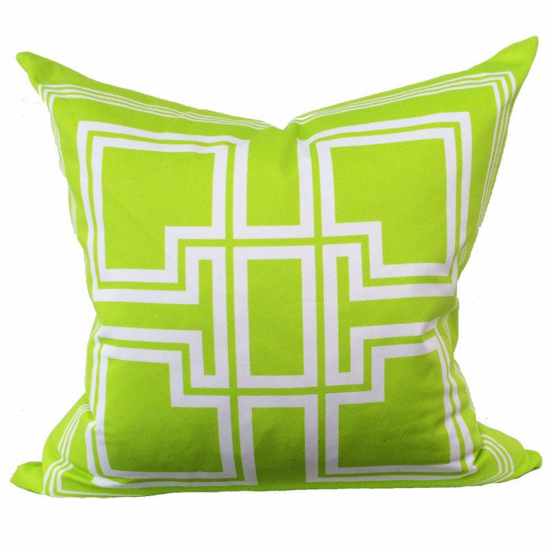 Greek Key Lime Green Pillow - Chestnut Lane Antiques & Interiors - 1