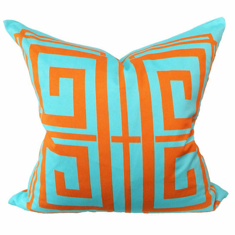 Greek Key Aqua & Orange Pillow - Chestnut Lane Antiques & Interiors - 1