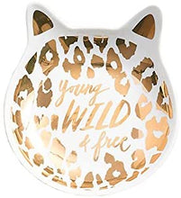 "Load image into Gallery viewer, Paper Source Cat Trinket Dish - ""Young, Wild & Free"""