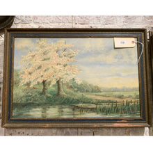 Load image into Gallery viewer, Antique K. PAE Oil on Canvas Trees and Lake