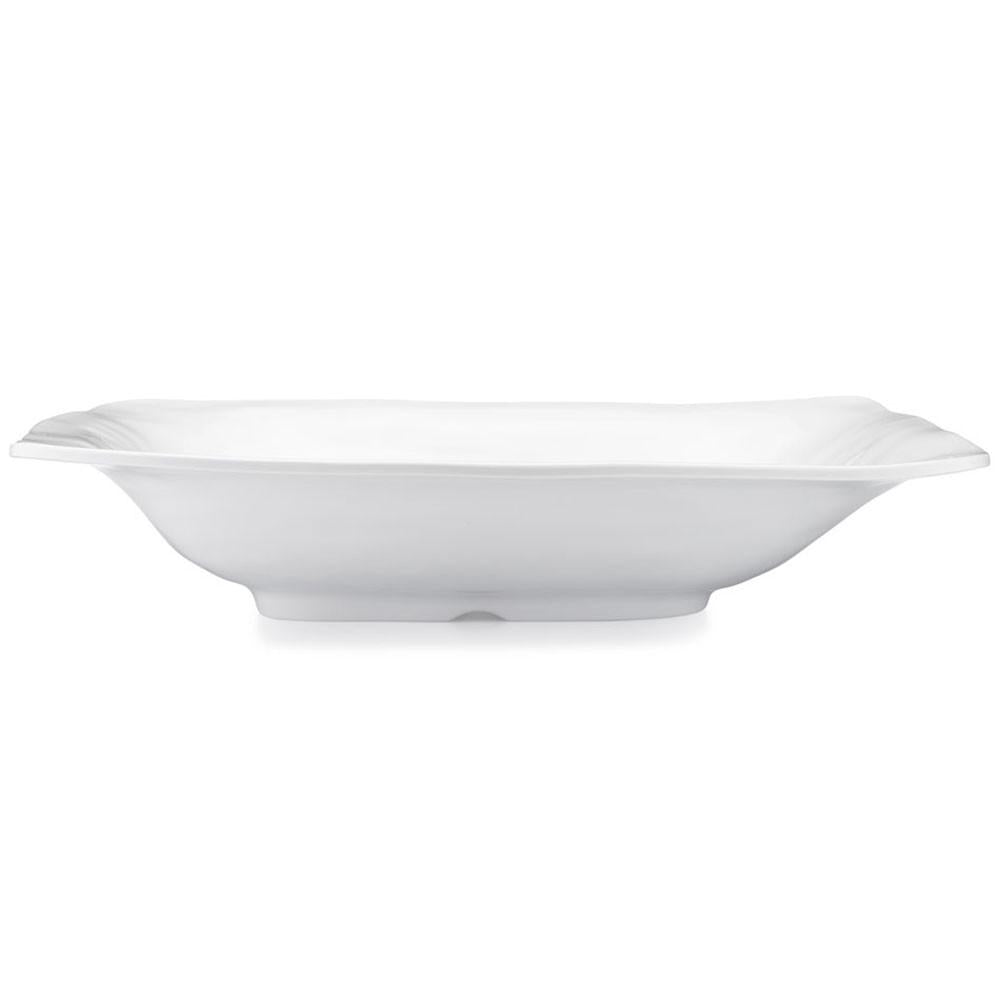 Ruffle White Melamine Rectangle Shallow Serving Bowl