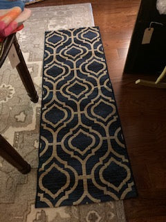 Navy and Natural Moroccan Pattern Woven Rug