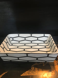 Jet Setter Nester Geometric Dish White with gold trim - Chestnut Lane Antiques & Interiors - 2