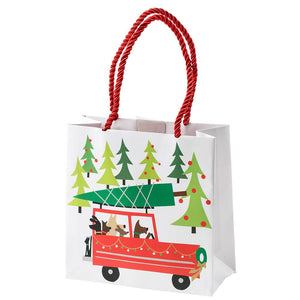 "Caspari Small Square Gift Bag - ""Doggy Tree Adventure"""