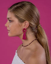 Load image into Gallery viewer, Beaded by W Stevie Loop Earrings - Stripes