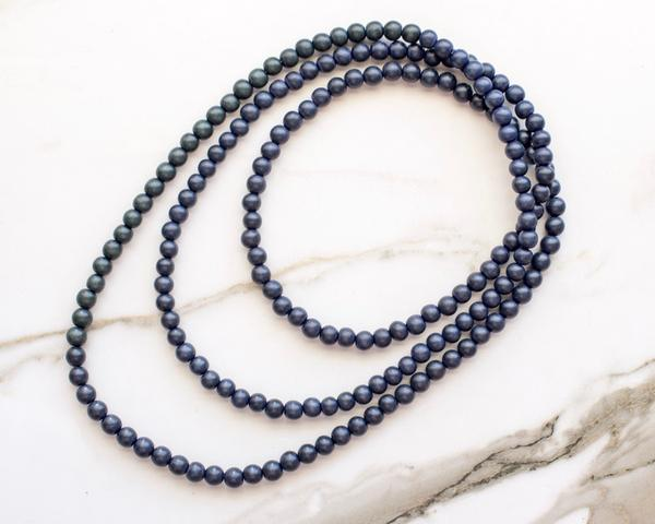 Erykah Double Wrap Necklace - Midnight Blue