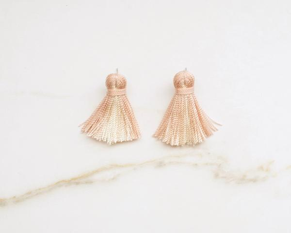 Mini Tassel Earrings - Blush Pink Ombré