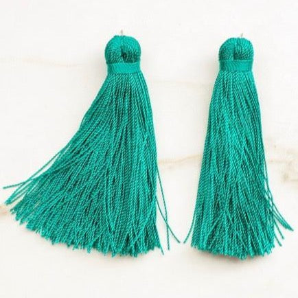 Medium Tassel Earrings - Jade Green