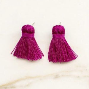 Mini Tassel Earrings - Plum Purple
