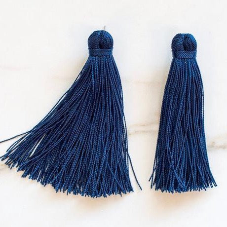 Medium Tassel Earrings - Midnight Blue