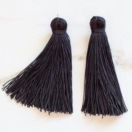 Medium Tassel Earrings - Jet Black