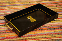 Load image into Gallery viewer, Gold & Black Pineapple Tray with Faux Bamboo Handles - Chestnut Lane Antiques & Interiors - 2
