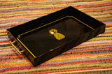 Gold & Black Pineapple Tray with Faux Bamboo Handles - Chestnut Lane Antiques & Interiors - 2