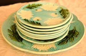 Majolica Turn of the Century German plates set of 8 - Chestnut Lane Antiques & Interiors - 6