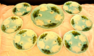 Majolica Turn of the Century German plates set of 8 - Chestnut Lane Antiques & Interiors - 2