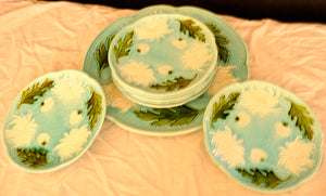 Majolica Turn of the Century German plates set of 8 - Chestnut Lane Antiques & Interiors - 5