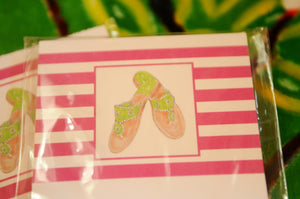 Pink Striped Notepad with Green Sandals - Chestnut Lane Antiques & Interiors - 3