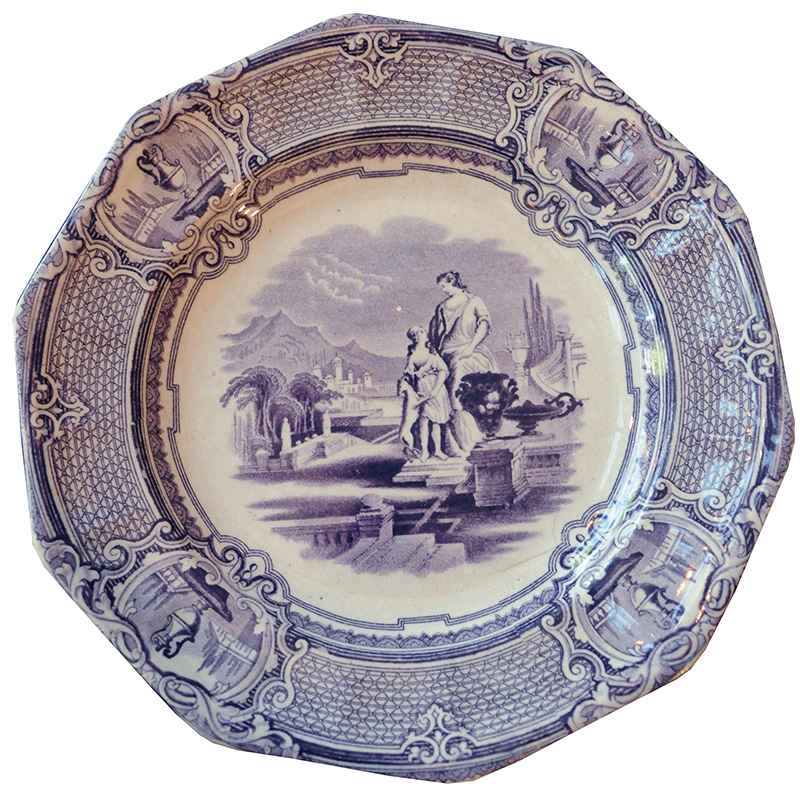 Purple and White Transferware Plate