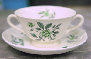 Wedgwood Green Leaf Footed Cream Soup Bowl and Saucer - Chestnut Lane Antiques & Interiors - 2