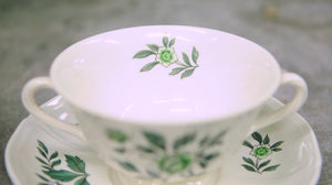 Wedgwood Green Leaf Footed Cream Soup Bowl and Saucer - Chestnut Lane Antiques & Interiors - 4