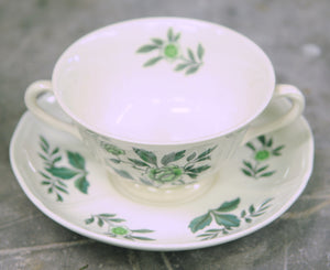 Wedgwood Green Leaf Footed Cream Soup Bowl and Saucer - Chestnut Lane Antiques & Interiors - 3